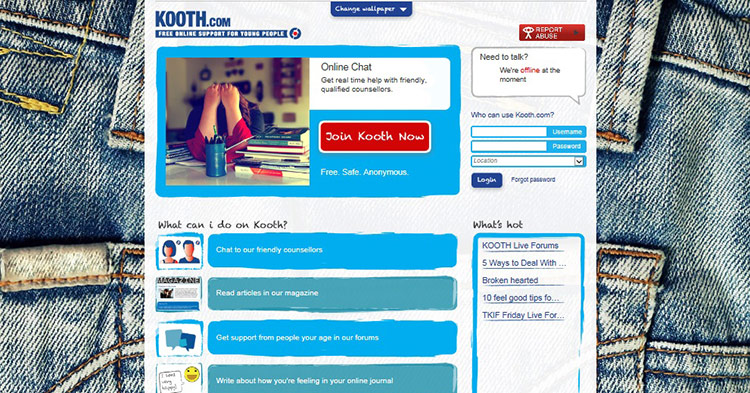 The front page of kooth.com
